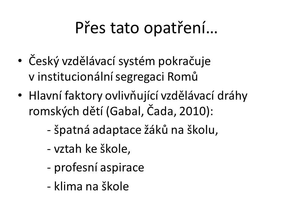 Přes tato opatření… Český vzdělávací systém pokračuje v institucionální segregaci Romů Hlavní faktory ovlivňující vzdělávací dráhy romských dětí (Gaba
