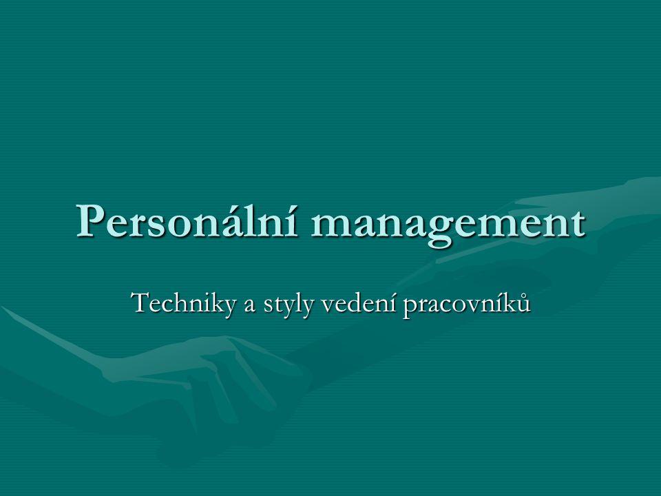 Personální management Techniky a styly vedení pracovníků