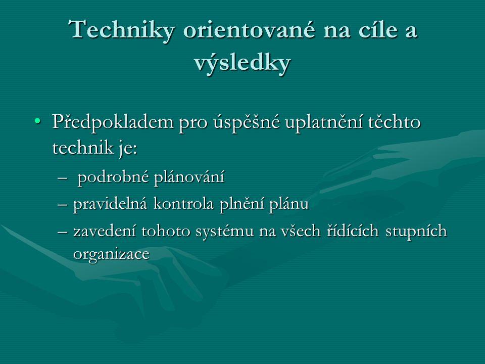 Předpokladem pro úspěšné uplatnění těchto technik je:Předpokladem pro úspěšné uplatnění těchto technik je: – podrobné plánování –pravidelná kontrola plnění plánu –zavedení tohoto systému na všech řídících stupních organizace Techniky orientované na cíle a výsledky