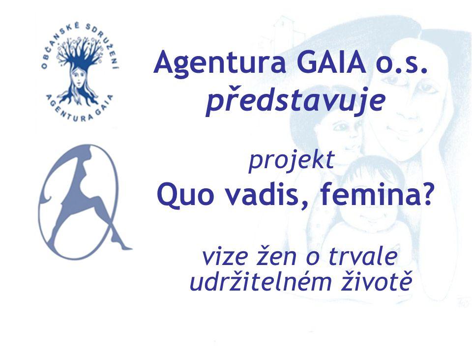 Agentura GAIA o.s. představuje projekt Quo vadis, femina? vize žen o trvale udržitelném životě