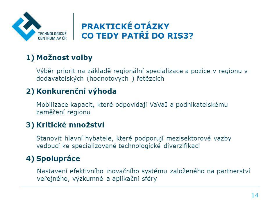 PRAKTICKÉ OTÁZKY CO TEDY PATŘÍ DO RIS3? 1)Možnost volby Výběr priorit na základě regionální specializace a pozice v regionu v dodavatelských (hodnotov