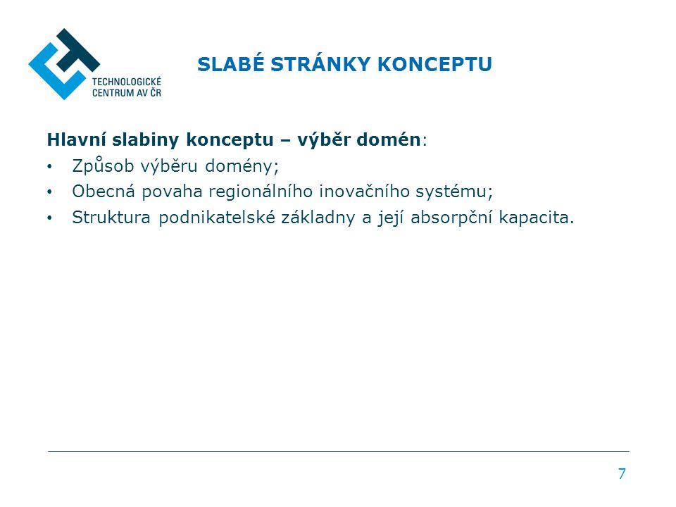 SLABÉ STRÁNKY KONCEPTU 7 Hlavní slabiny konceptu – výběr domén: Způsob výběru domény; Obecná povaha regionálního inovačního systému; Struktura podnikatelské základny a její absorpční kapacita.