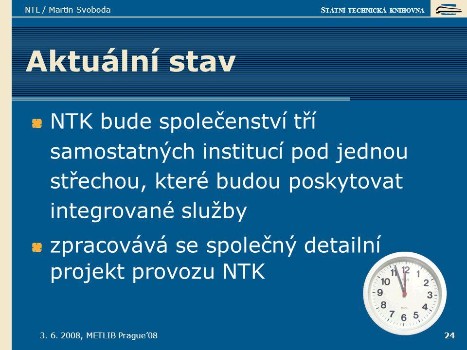 S TÁTNÍ TECHNICKÁ KNIHOVNA 3. 6. 2008, METLIB Prague'08 NTL / Martin Svoboda 24 Aktuální stav NTK bude společenství tří samostatných institucí pod jed