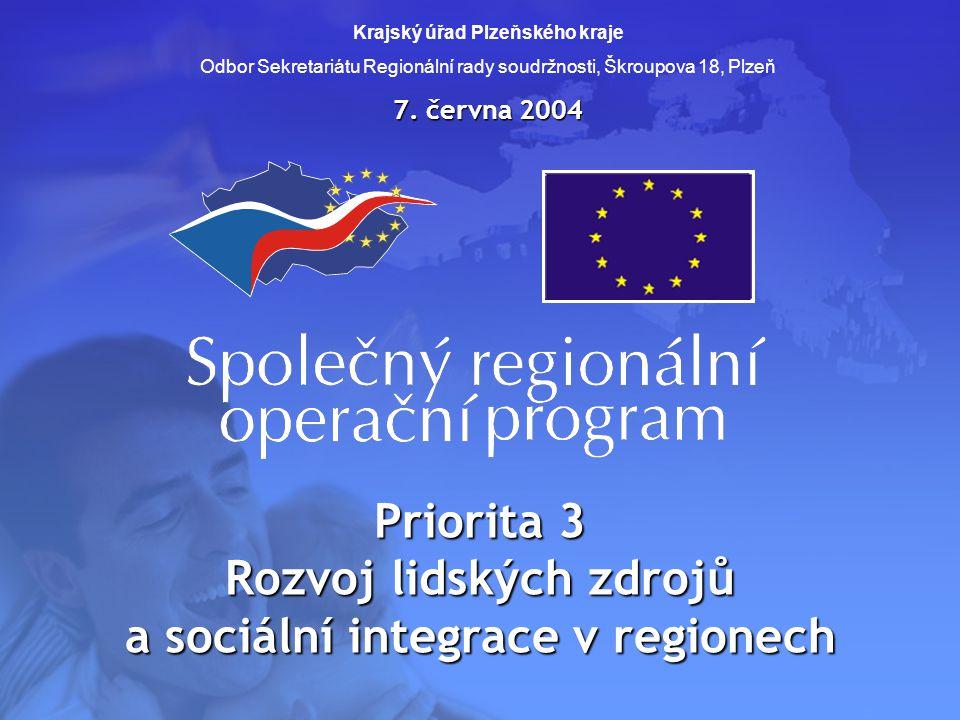 Priorita 3 Rozvoj lidských zdrojů a sociální integrace v regionech Krajský úřad Plzeňského kraje Odbor Sekretariátu Regionální rady soudržnosti, Škrou