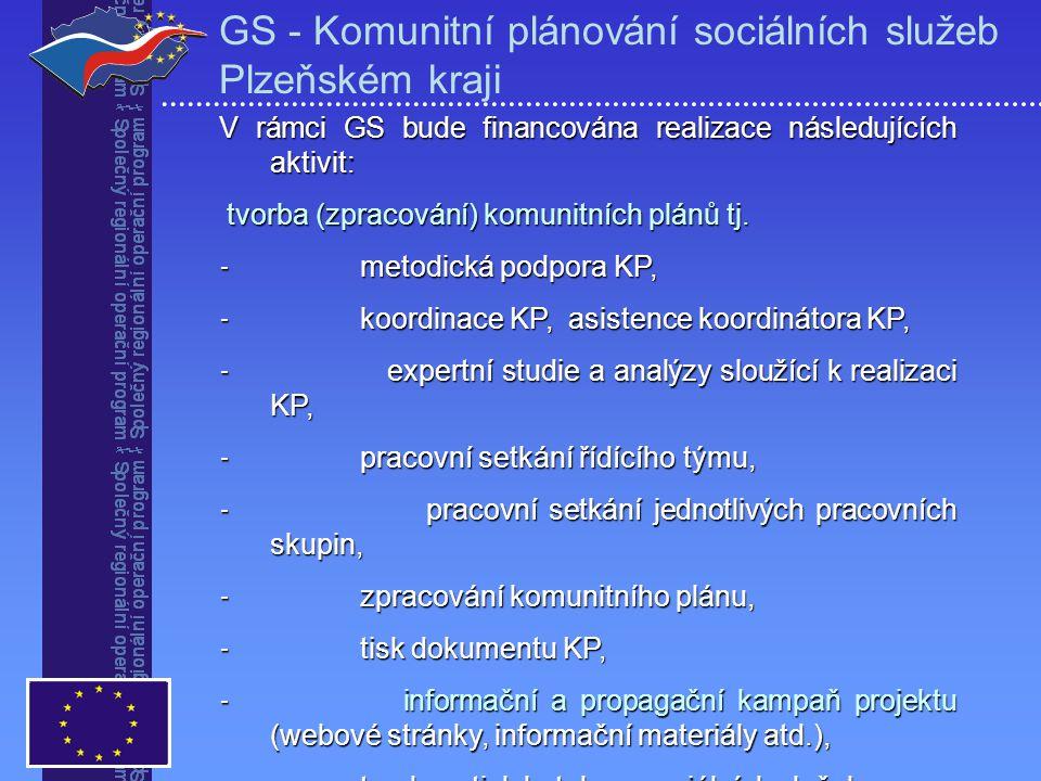 V rámci GS bude financována realizace následujících aktivit: tvorba (zpracování) komunitních plánů tj.
