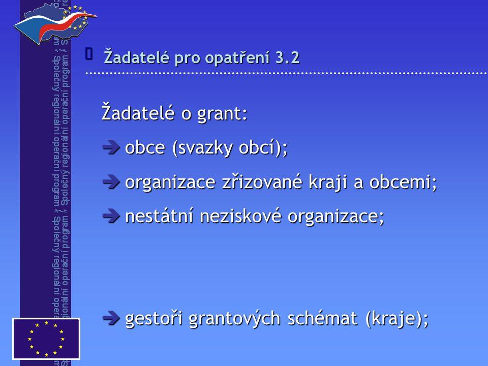  Žadatelé pro opatření 3.2 Žadatelé o grant:  obce (svazky obcí);  organizace zřizované kraji a obcemi;  nestátní neziskové organizace;  gestoři