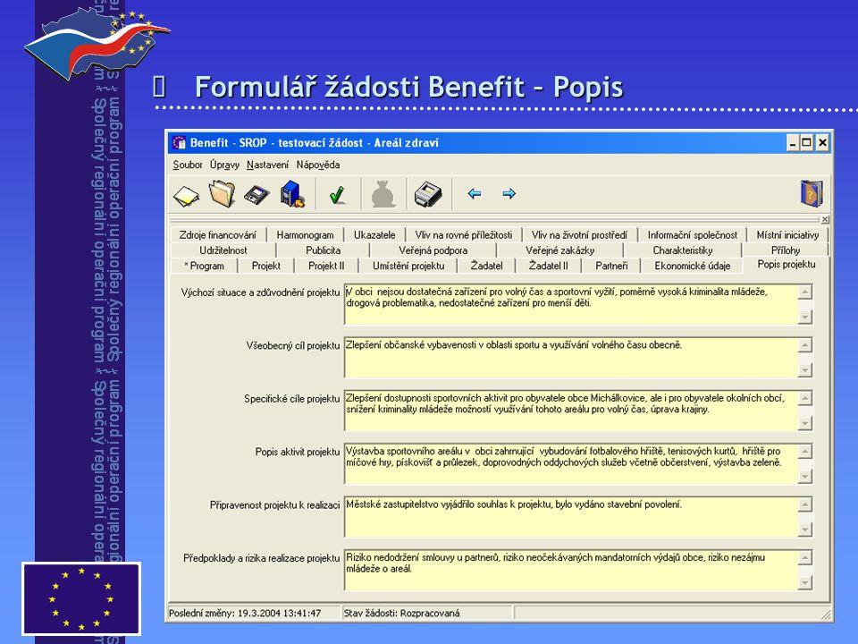 Formulář žádosti Benefit – Popis 
