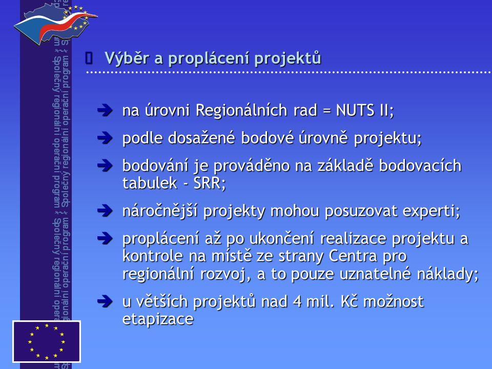 Výběr a proplácení projektů   na úrovni Regionálních rad = NUTS II;  podle dosažené bodové úrovně projektu;  bodování je prováděno na základě bodo
