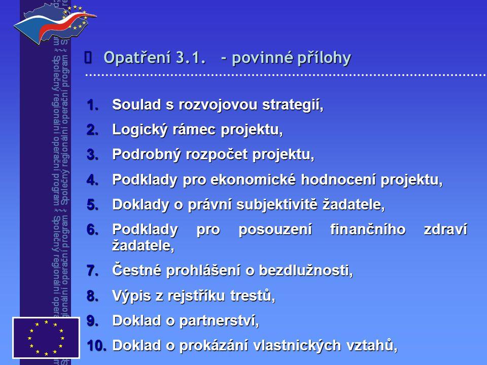 Opatření 3.1. - povinné přílohy  1.Soulad s rozvojovou strategií, 2.Logický rámec projektu, 3.Podrobný rozpočet projektu, 4.Podklady pro ekonomické h