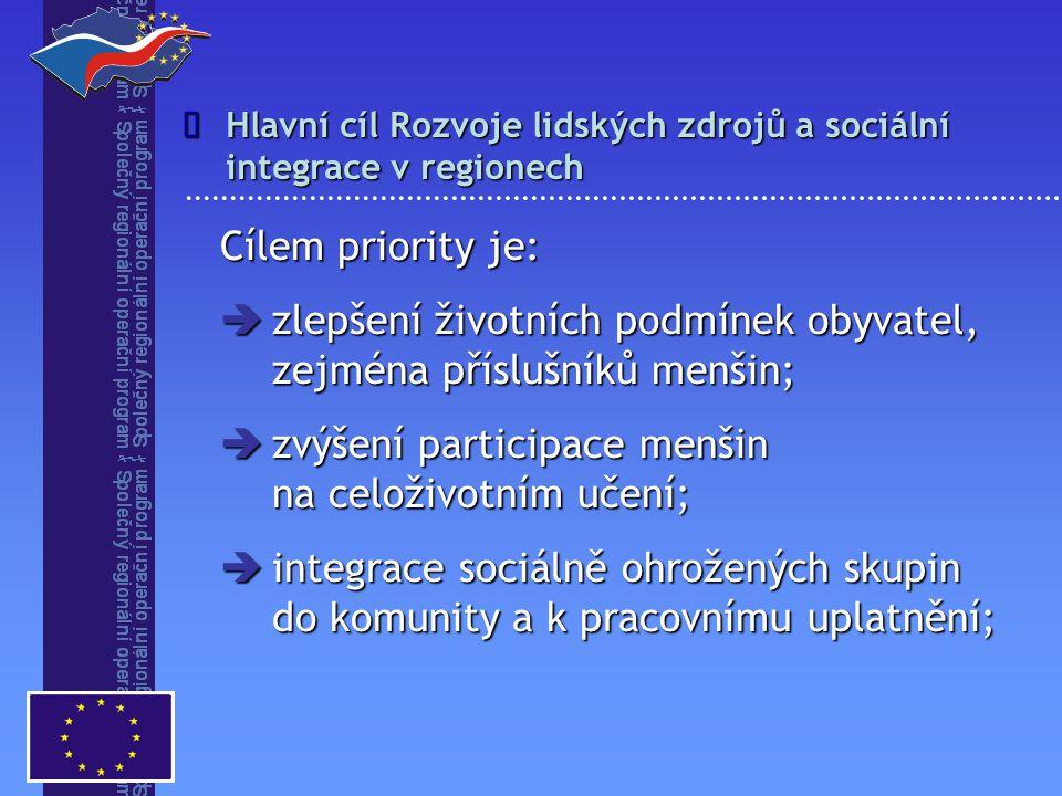  omezení sociálně patologických jevů;  zlepšení přístupu lidí ze znevýhodněných oblastí k sociálnímu a kulturnímu rozvoji;  prevence sociálního vyloučení a kriminality;  zmírnění sociálního znevýhodnění v městských i venkovských oblastech; Specifické cíle Rozvoj lidských zdrojů a sociální integrace v regionech 