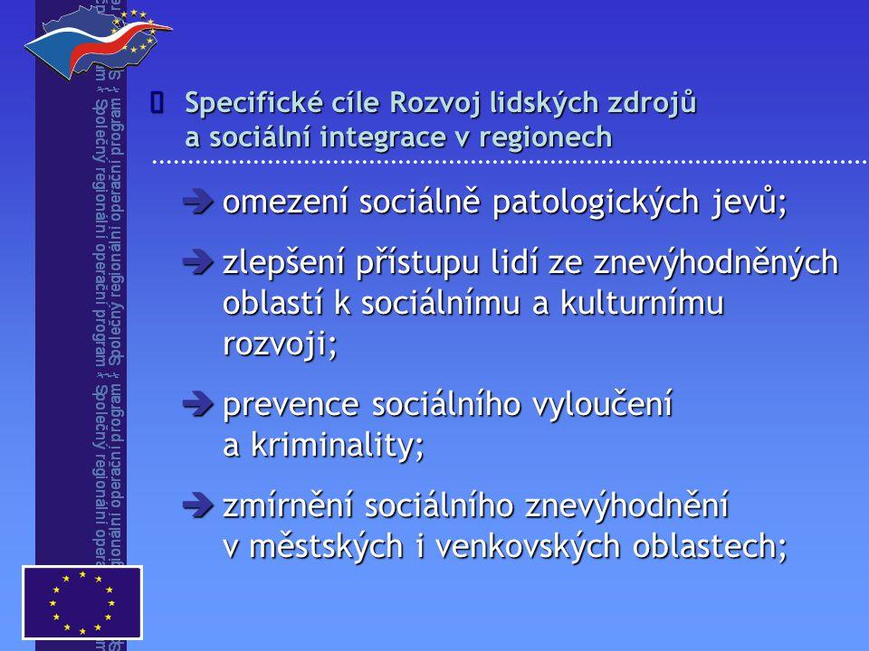  omezení sociálně patologických jevů;  zlepšení přístupu lidí ze znevýhodněných oblastí k sociálnímu a kulturnímu rozvoji;  prevence sociálního vyl