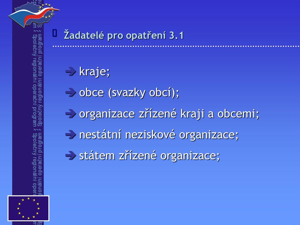  Žadatelé pro opatření 3.2 Žadatelé o grant:  obce (svazky obcí);  organizace zřizované kraji a obcemi;  nestátní neziskové organizace;  gestoři grantových schémat (kraje);
