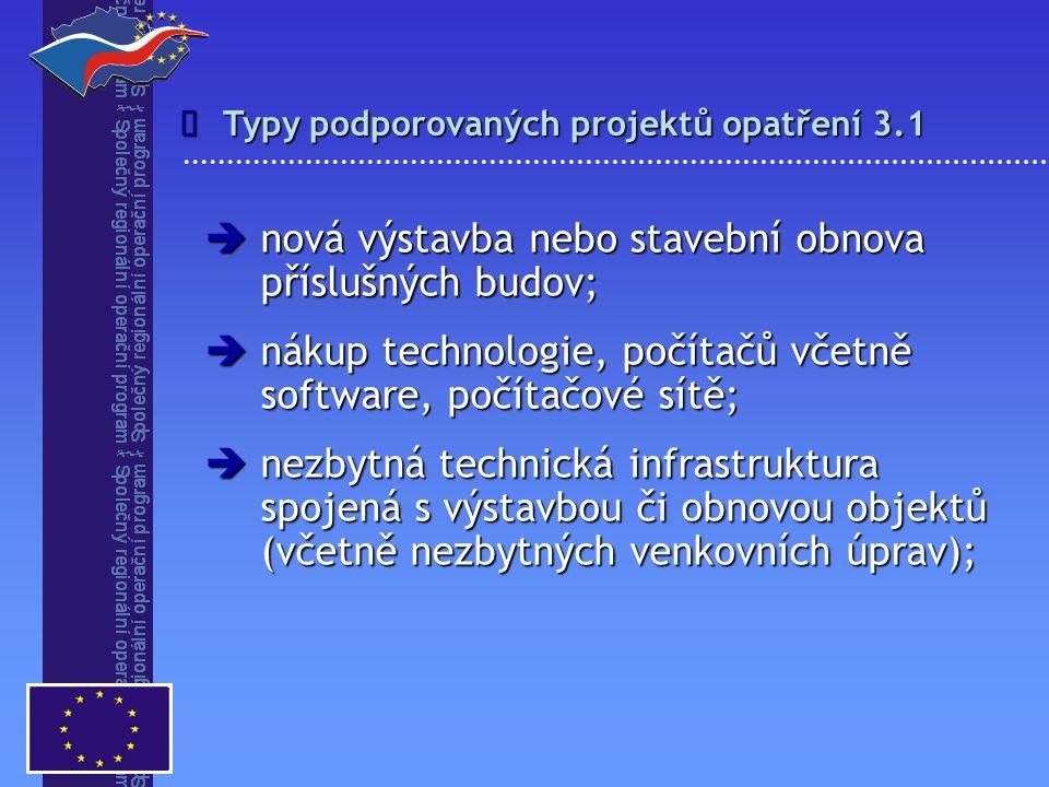 Typy podporovaných projektů opatření 3.1   nová výstavba nebo stavební obnova příslušných budov;  nákup technologie, počítačů včetně software, počí