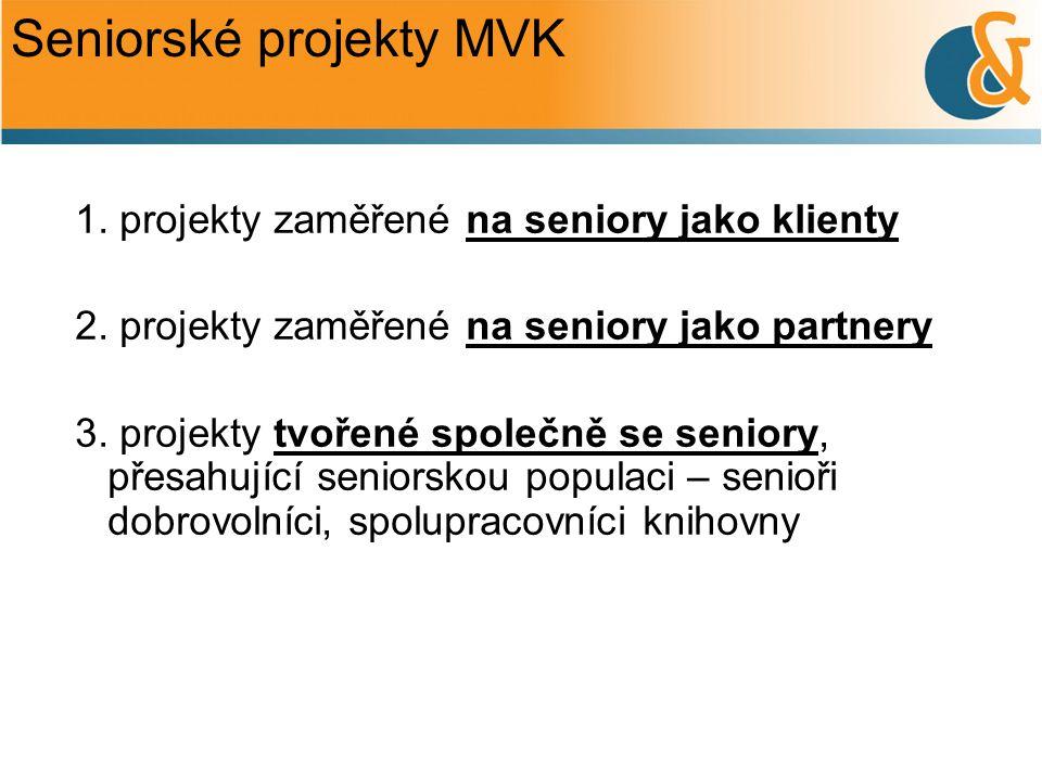 Seniorské projekty MVK 1. projekty zaměřené na seniory jako klienty 2. projekty zaměřené na seniory jako partnery 3. projekty tvořené společně se seni