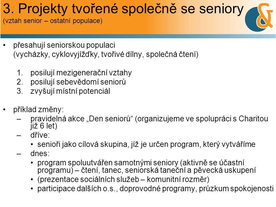 3. Projekty tvořené společně se seniory (vztah senior – ostatní populace) přesahují seniorskou populaci (vycházky, cyklovyjížďky, tvořivé dílny, spole