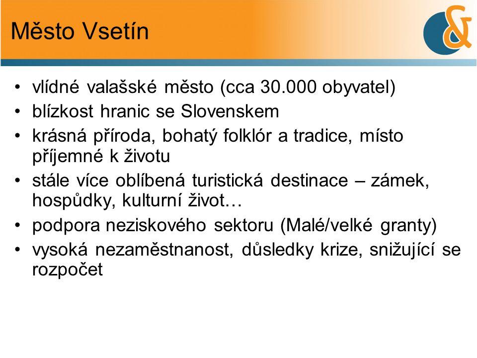 Město Vsetín vlídné valašské město (cca 30.000 obyvatel) blízkost hranic se Slovenskem krásná příroda, bohatý folklór a tradice, místo příjemné k životu stále více oblíbená turistická destinace – zámek, hospůdky, kulturní život… podpora neziskového sektoru (Malé/velké granty) vysoká nezaměstnanost, důsledky krize, snižující se rozpočet