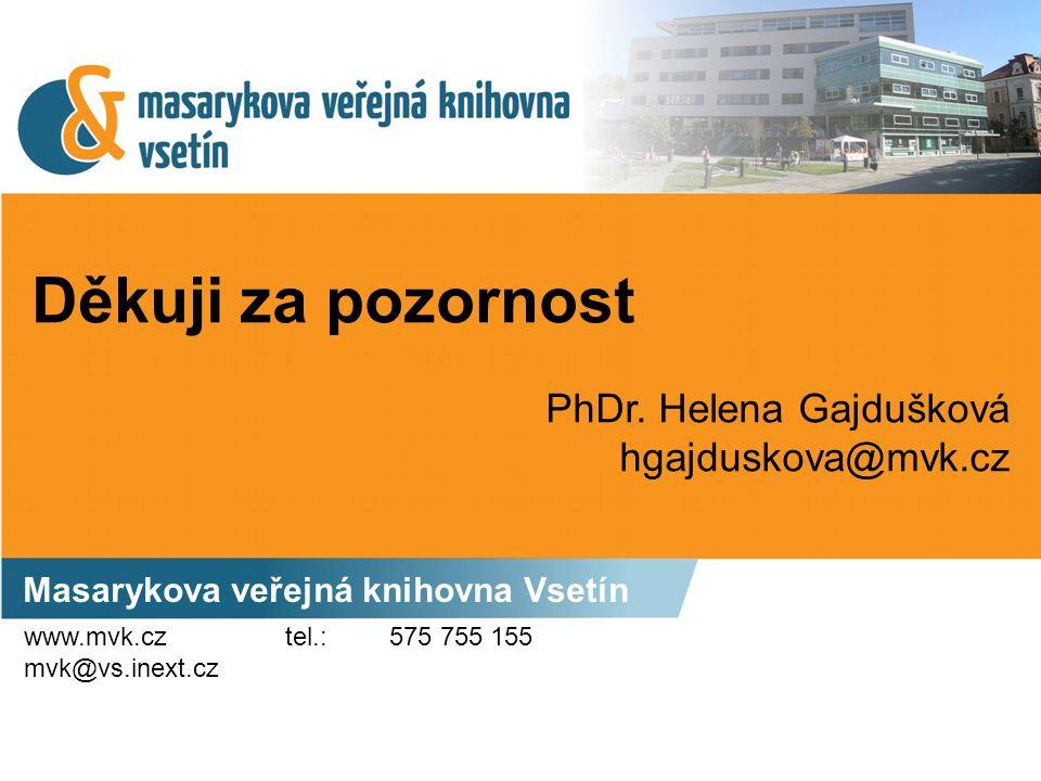 Děkuji za pozornost Masarykova veřejná knihovna Vsetín PhDr. Helena Gajdušková hgajduskova@mvk.cz www.mvk.cz mvk@vs.inext.cz tel.: 575 755 155