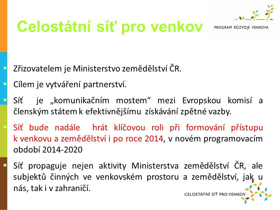 Celostátní síť pro venkov CV  Zřizovatelem je Ministerstvo zemědělství ČR.