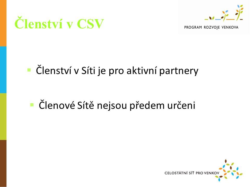 Členství v CSV  Členství v Síti je pro aktivní partnery  Členové Sítě nejsou předem určeni