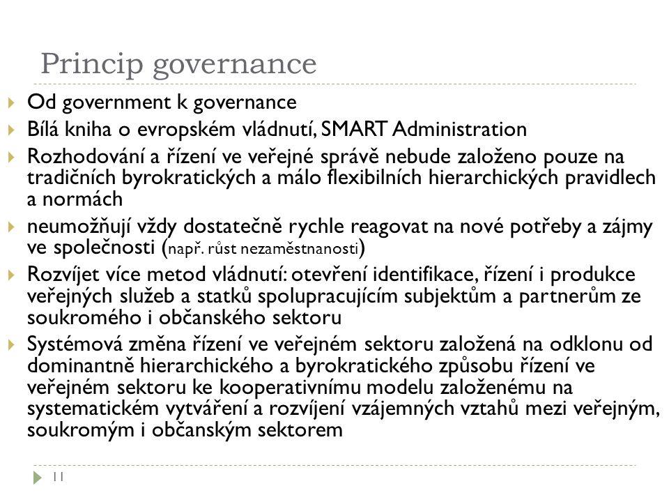 Princip governance 11  Od government k governance  Bílá kniha o evropském vládnutí, SMART Administration  Rozhodování a řízení ve veřejné správě ne