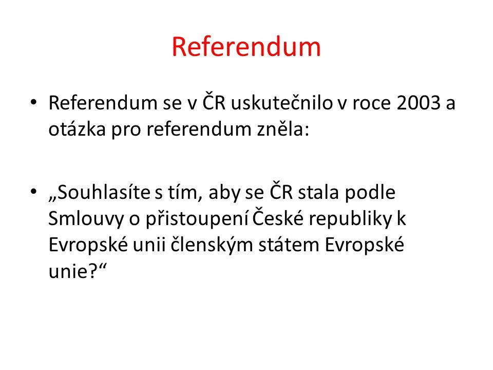 """Referendum Referendum se v ČR uskutečnilo v roce 2003 a otázka pro referendum zněla: """"Souhlasíte s tím, aby se ČR stala podle Smlouvy o přistoupení České republiky k Evropské unii členským státem Evropské unie"""