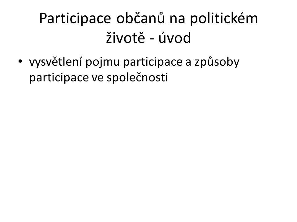Participace občanů na politickém životě - úvod vysvětlení pojmu participace a způsoby participace ve společnosti