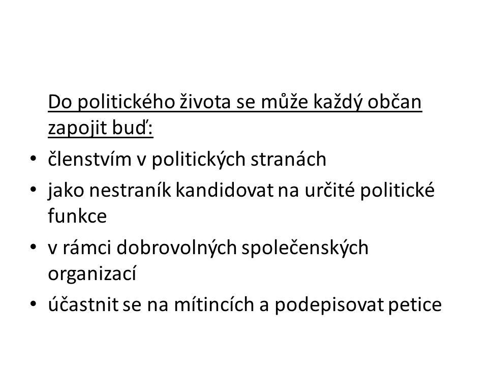 Do politického života se může každý občan zapojit buď: členstvím v politických stranách jako nestraník kandidovat na určité politické funkce v rámci dobrovolných společenských organizací účastnit se na mítincích a podepisovat petice