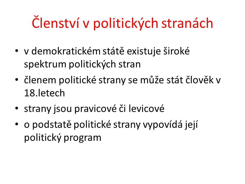 Členství v politických stranách v demokratickém státě existuje široké spektrum politických stran členem politické strany se může stát člověk v 18.letech strany jsou pravicové či levicové o podstatě politické strany vypovídá její politický program