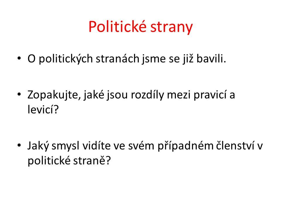 Politické strany O politických stranách jsme se již bavili.