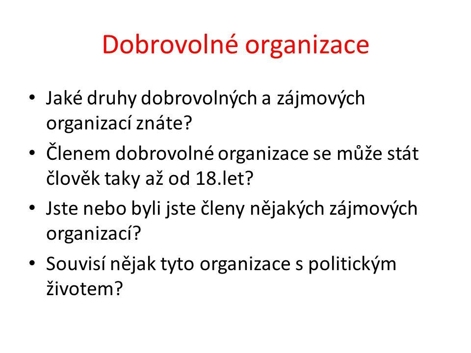 Dobrovolné organizace Jaké druhy dobrovolných a zájmových organizací znáte.