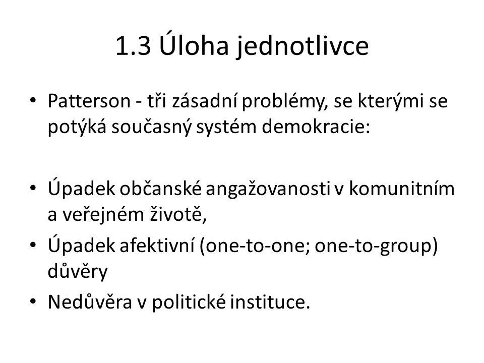 1.3 Úloha jednotlivce Patterson - tři zásadní problémy, se kterými se potýká současný systém demokracie: Úpadek občanské angažovanosti v komunitním a veřejném životě, Úpadek afektivní (one-to-one; one-to-group) důvěry Nedůvěra v politické instituce.