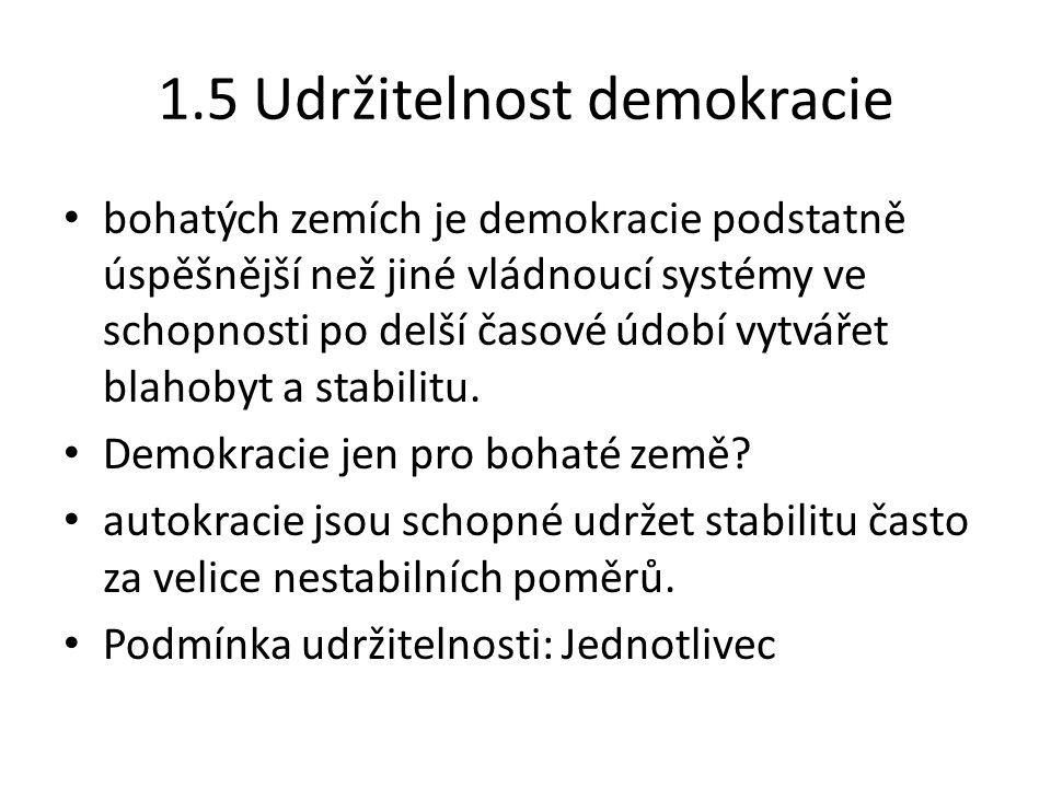1.5 Udržitelnost demokracie bohatých zemích je demokracie podstatně úspěšnější než jiné vládnoucí systémy ve schopnosti po delší časové údobí vytvářet blahobyt a stabilitu.