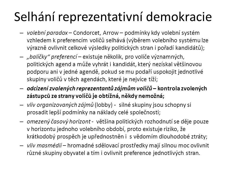 """Selhání reprezentativní demokracie – volební paradox – Condorcet, Arrow – podmínky kdy volební systém vzhledem k preferencím voličů selhává (výběrem volebního systému lze výrazně ovlivnit celkové výsledky politických stran i pořadí kandidátů); – """"balíčky preferencí – existuje několik, pro voliče významných, politických agend a může vyhrát i kandidát, který nezískal většinovou podporu ani v jedné agendě, pokud se mu podaří uspokojit jednotlivé skupiny voličů v těch agendách, které je nejvíce tíží; – odcizení zvolených reprezentantů zájmům voličů – kontrola zvolených zástupců ze strany voličů je obtížná, někdy nemožná; – vliv organizovaných zájmů (lobby) - silné skupiny jsou schopny si prosadit lepší podmínky na náklady celé společnosti; – omezený časový horizont - většina politických rozhodnutí se děje pouze v horizontu jednoho volebního období, proto existuje riziko, že krátkodobý prospěch je upřednostněn i s vědomím dlouhodobé ztráty; – vliv masmédií – hromadné sdělovací prostředky mají silnou moc ovlivnit různé skupiny obyvatel a tím i ovlivnit preference jednotlivých stran."""