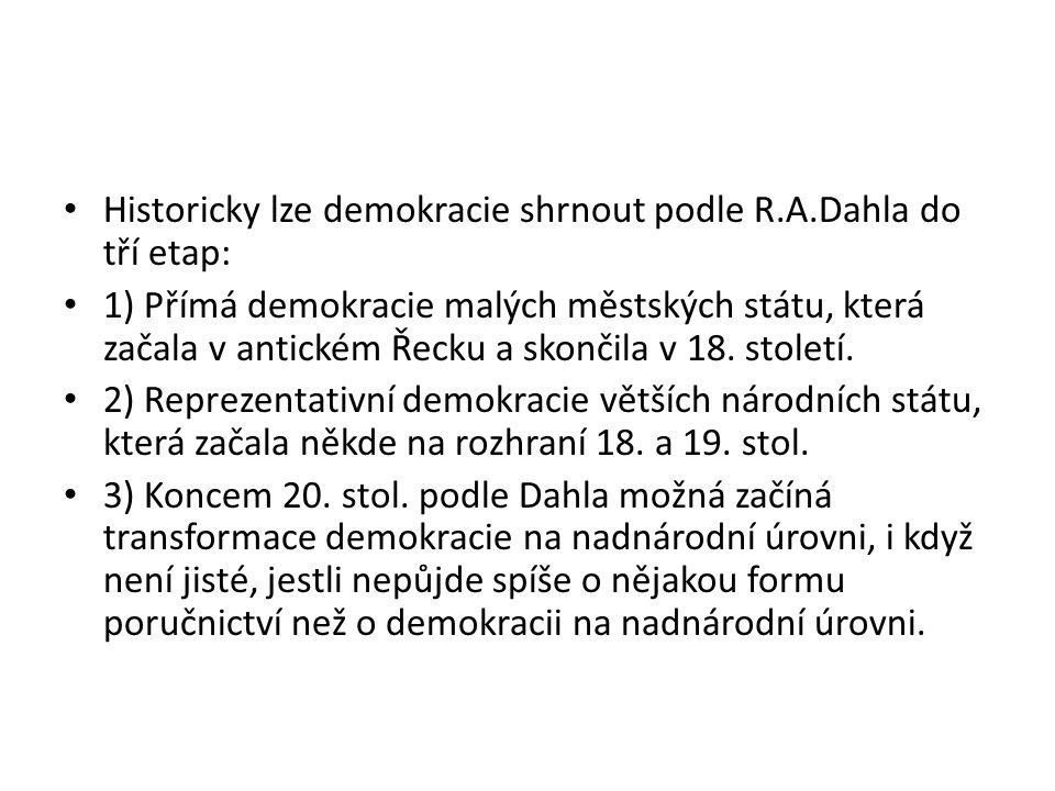 Historicky lze demokracie shrnout podle R.A.Dahla do tří etap: 1) Přímá demokracie malých městských státu, která začala v antickém Řecku a skončila v 18.