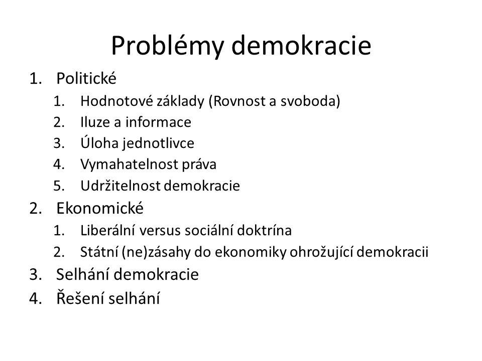 Problémy demokracie 1.Politické 1.Hodnotové základy (Rovnost a svoboda) 2.Iluze a informace 3.Úloha jednotlivce 4.Vymahatelnost práva 5.Udržitelnost demokracie 2.Ekonomické 1.Liberální versus sociální doktrína 2.Státní (ne)zásahy do ekonomiky ohrožující demokracii 3.Selhání demokracie 4.Řešení selhání