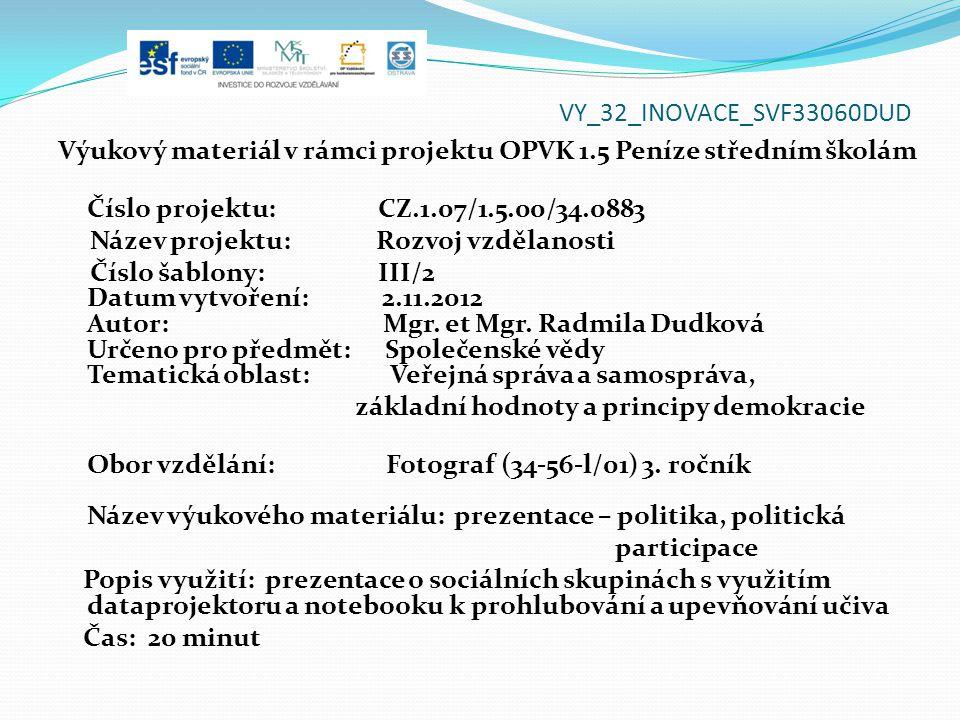 VY_32_INOVACE_SVF33060DUD Výukový materiál v rámci projektu OPVK 1.5 Peníze středním školám Číslo projektu: CZ.1.07/1.5.00/34.0883 Název projektu: Roz