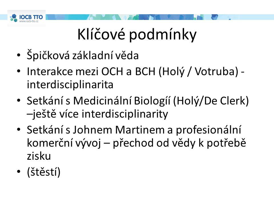 Klíčové podmínky Špičková základní věda Interakce mezi OCH a BCH (Holý / Votruba) - interdisciplinarita Setkání s Medicinální Biologíí (Holý/De Clerk) –ještě více interdisciplinarity Setkání s Johnem Martinem a profesionální komerční vývoj – přechod od vědy k potřebě zisku (štěstí)