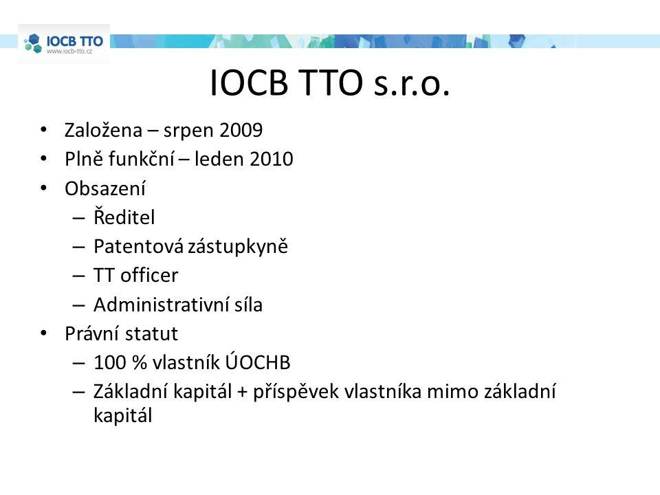 IOCB TTO s.r.o. Založena – srpen 2009 Plně funkční – leden 2010 Obsazení – Ředitel – Patentová zástupkyně – TT officer – Administrativní síla Právní s