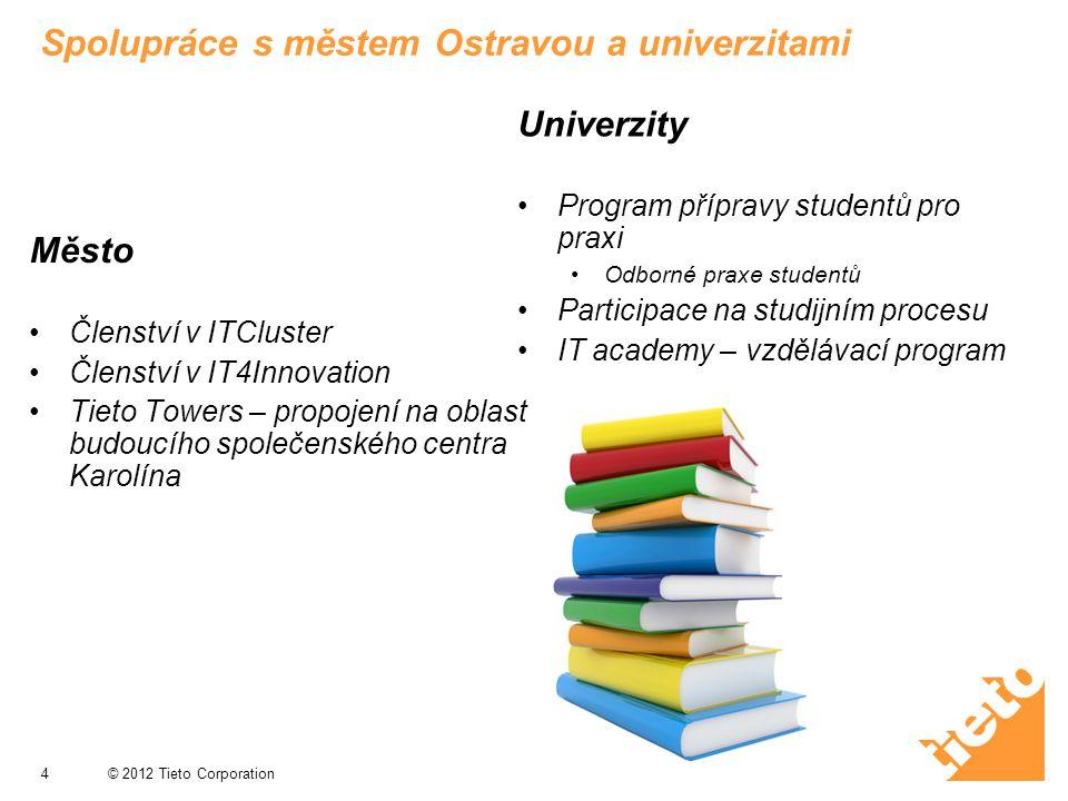 © 2012 Tieto Corporation Spolupráce s městem Ostravou a univerzitami Město Členství v ITCluster Členství v IT4Innovation Tieto Towers – propojení na o