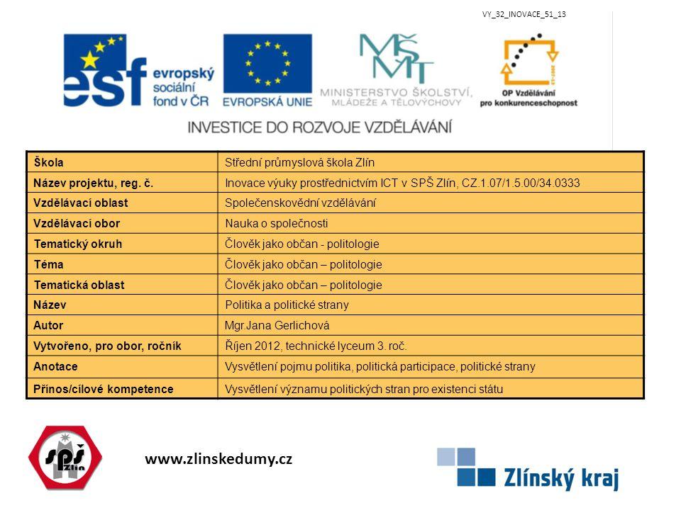 www.zlinskedumy.cz VY_32_INOVACE_51_13 ŠkolaStřední průmyslová škola Zlín Název projektu, reg.