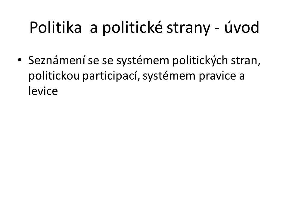 Politika a politické strany - úvod Seznámení se se systémem politických stran, politickou participací, systémem pravice a levice