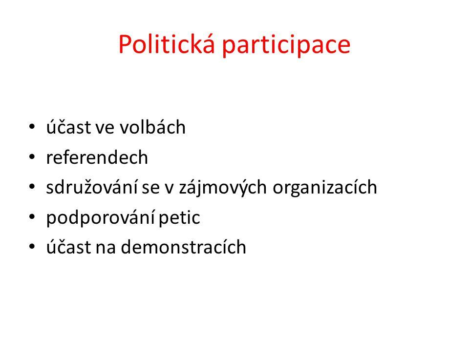 Politická participace účast ve volbách referendech sdružování se v zájmových organizacích podporování petic účast na demonstracích