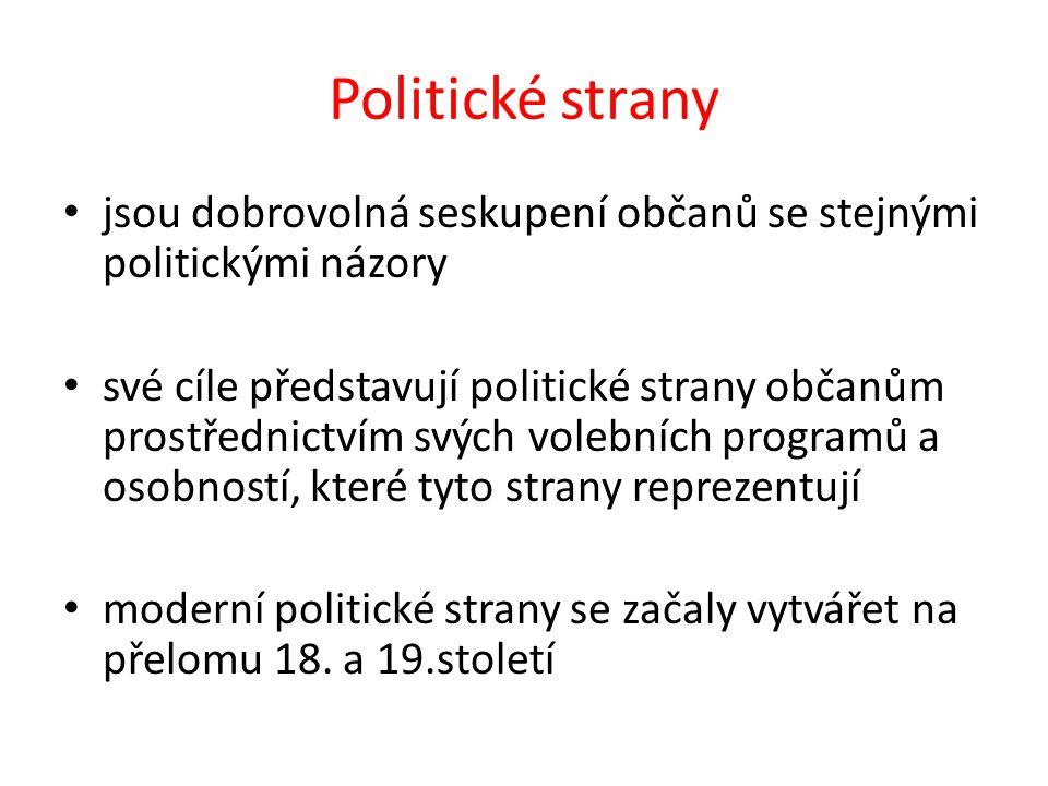 Politické strany jsou dobrovolná seskupení občanů se stejnými politickými názory své cíle představují politické strany občanům prostřednictvím svých volebních programů a osobností, které tyto strany reprezentují moderní politické strany se začaly vytvářet na přelomu 18.
