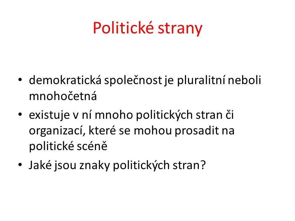 Politické strany demokratická společnost je pluralitní neboli mnohočetná existuje v ní mnoho politických stran či organizací, které se mohou prosadit na politické scéně Jaké jsou znaky politických stran?