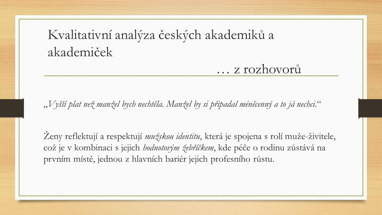 """Kvalitativní analýza českých akademiků a akademiček … z rozhovorů """"Vyšší plat než manžel bych nechtěla. Manžel by si připadal méněcenný a to já nechci"""