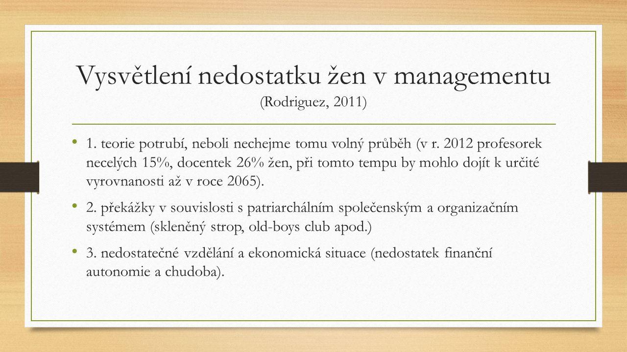 Vysvětlení nedostatku žen v managementu (Rodriguez, 2011) 1. teorie potrubí, neboli nechejme tomu volný průběh (v r. 2012 profesorek necelých 15%, doc