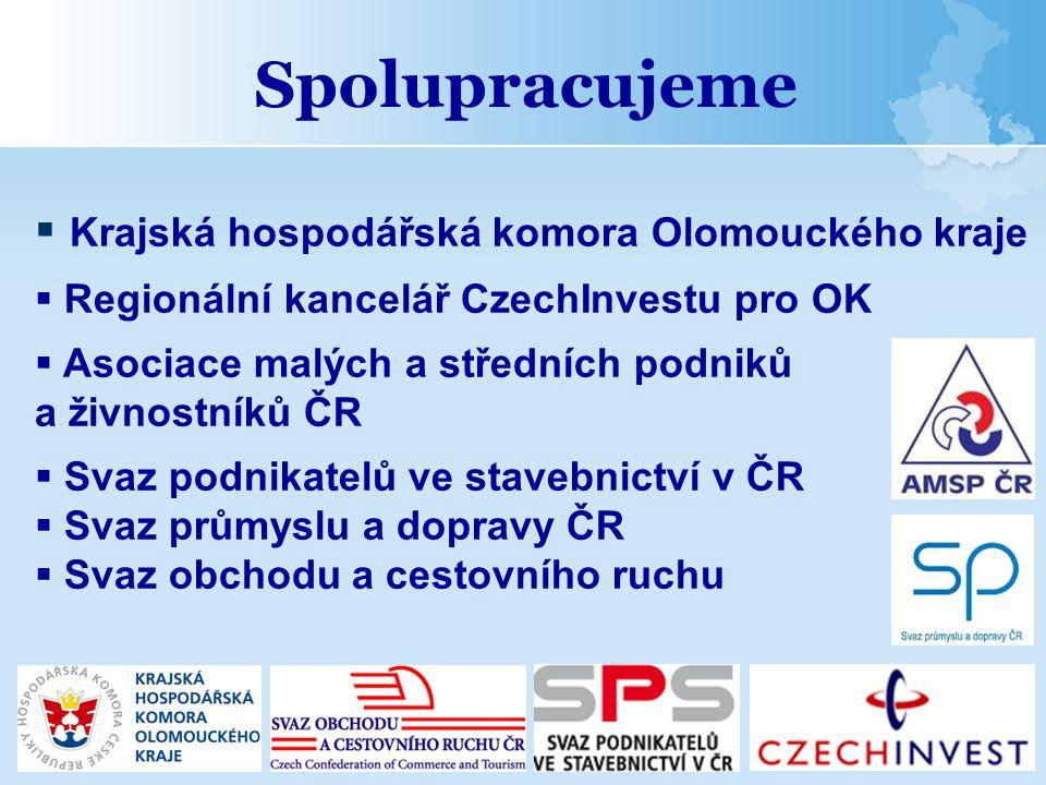  Krajská hospodářská komora Olomouckého kraje  Regionální kancelář CzechInvestu pro OK  Asociace malých a středních podniků a živnostníků ČR  Svaz
