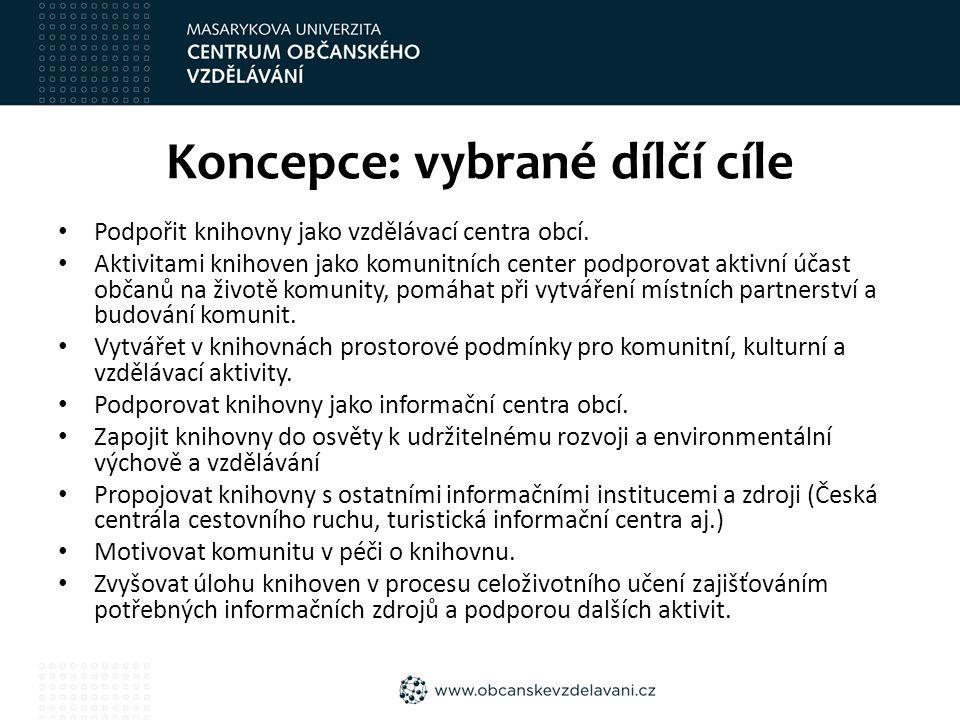 Koncepce: vybrané dílčí cíle Podpořit knihovny jako vzdělávací centra obcí.