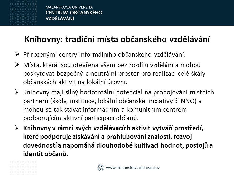 Knihovny: tradiční místa občanského vzdělávání  Přirozenými centry informálního občanského vzdělávání.  Místa, která jsou otevřena všem bez rozdílu