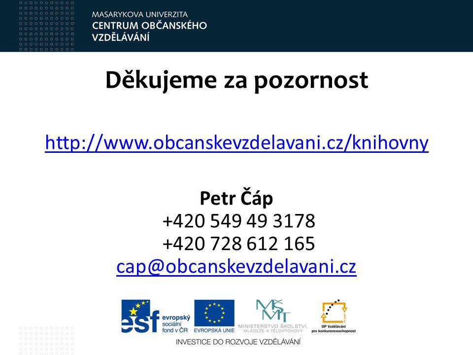 Děkujeme za pozornost http://www.obcanskevzdelavani.cz/knihovny Petr Čáp +420 549 49 3178 +420 728 612 165 cap@obcanskevzdelavani.cz cap@obcanskevzdel
